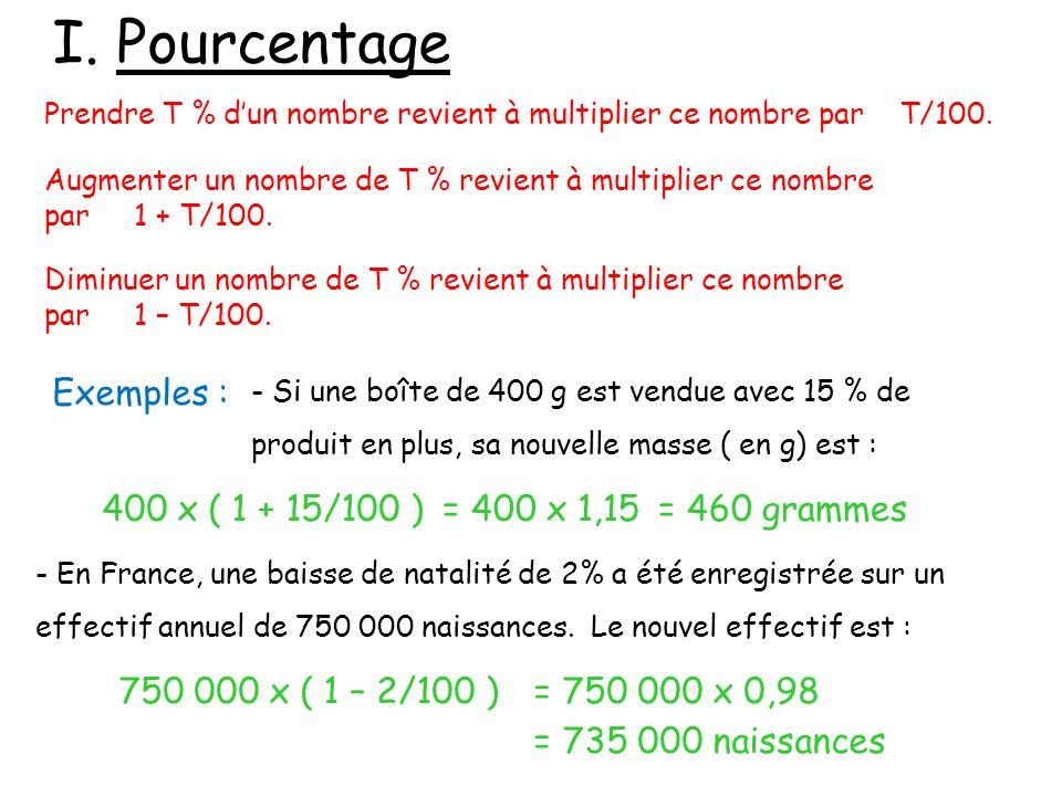 I. Pourcentage Prendre T % dun nombre revient à multiplier ce nombre par T/100. Augmenter un nombre de T % revient à multiplier ce nombre par 1 + T/10