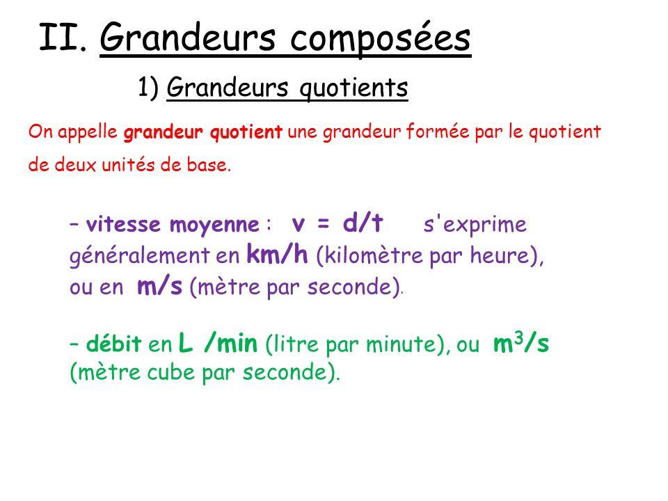 II. Grandeurs composées 1) Grandeurs quotients On appelle grandeur quotient une grandeur formée par le quotient de deux unités de base. – vitesse moye