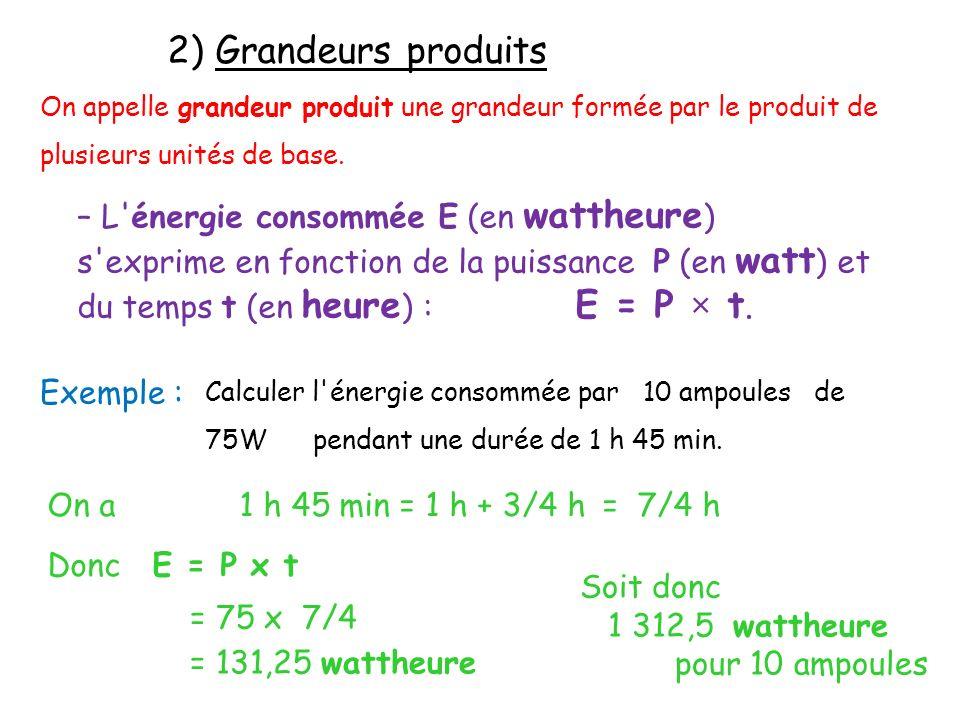 2) Grandeurs produits On appelle grandeur produit une grandeur formée par le produit de plusieurs unités de base. – L'énergie consommée E (en wattheur