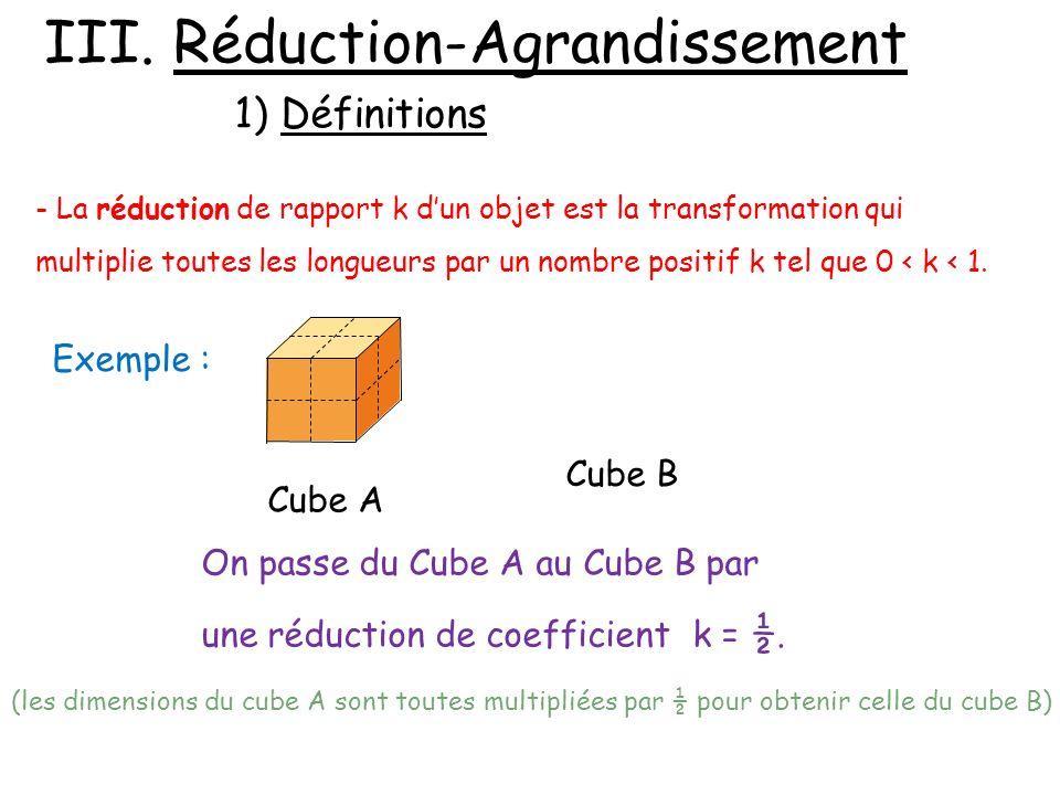 III. Réduction-Agrandissement 1) Définitions - La réduction de rapport k dun objet est la transformation qui multiplie toutes les longueurs par un nom