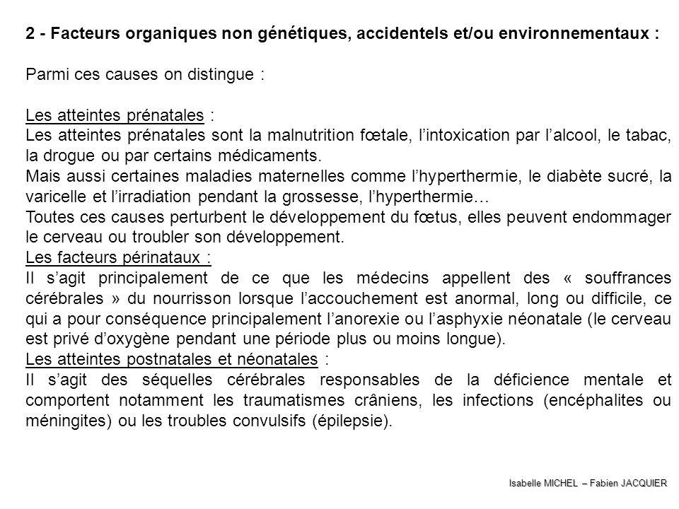 Isabelle MICHEL – Fabien JACQUIER 2 - Facteurs organiques non génétiques, accidentels et/ou environnementaux : Parmi ces causes on distingue : Les att