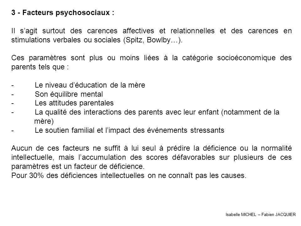 Isabelle MICHEL – Fabien JACQUIER 3 - Facteurs psychosociaux : Il sagit surtout des carences affectives et relationnelles et des carences en stimulati