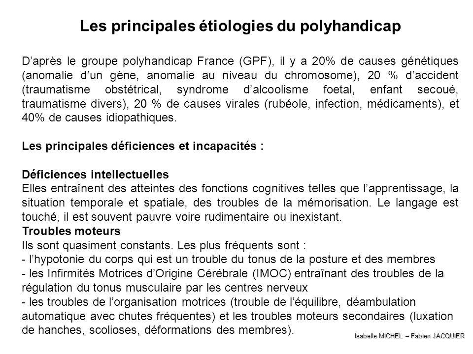 Isabelle MICHEL – Fabien JACQUIER Les principales étiologies du polyhandicap Daprès le groupe polyhandicap France (GPF), il y a 20% de causes génétiqu