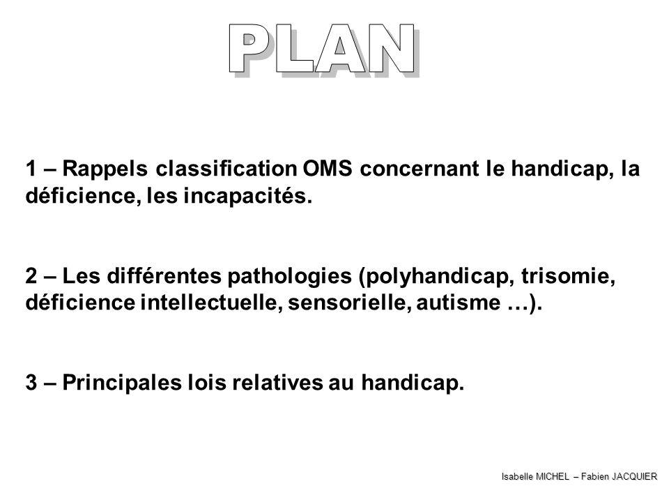 1 – Rappels classification OMS concernant le handicap, la déficience, les incapacités. 2 – Les différentes pathologies (polyhandicap, trisomie, défici