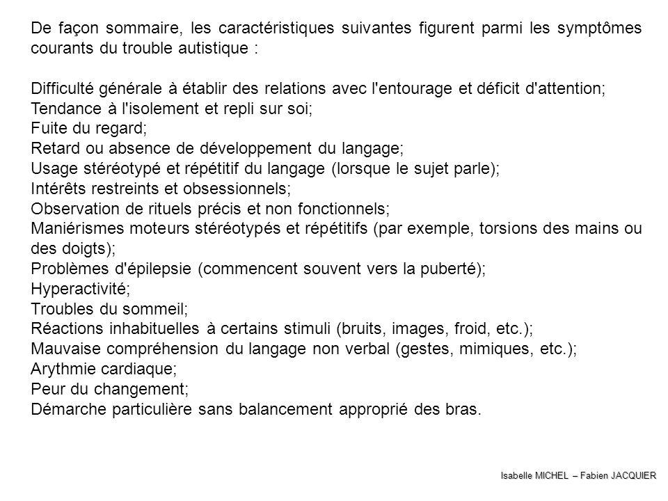 Isabelle MICHEL – Fabien JACQUIER De façon sommaire, les caractéristiques suivantes figurent parmi les symptômes courants du trouble autistique : Diff