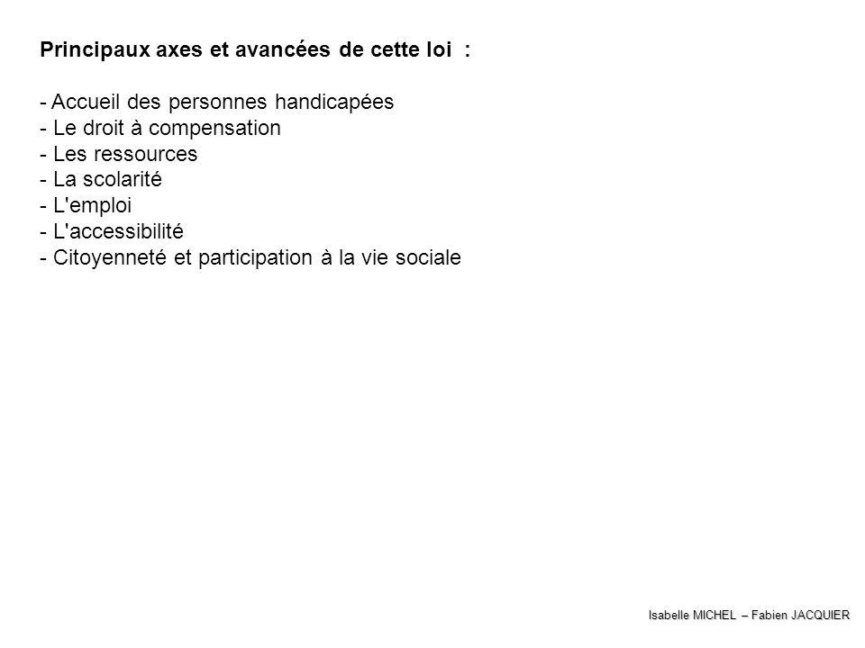 Isabelle MICHEL – Fabien JACQUIER Principaux axes et avancées de cette loi : - Accueil des personnes handicapées - Le droit à compensation - Les resso