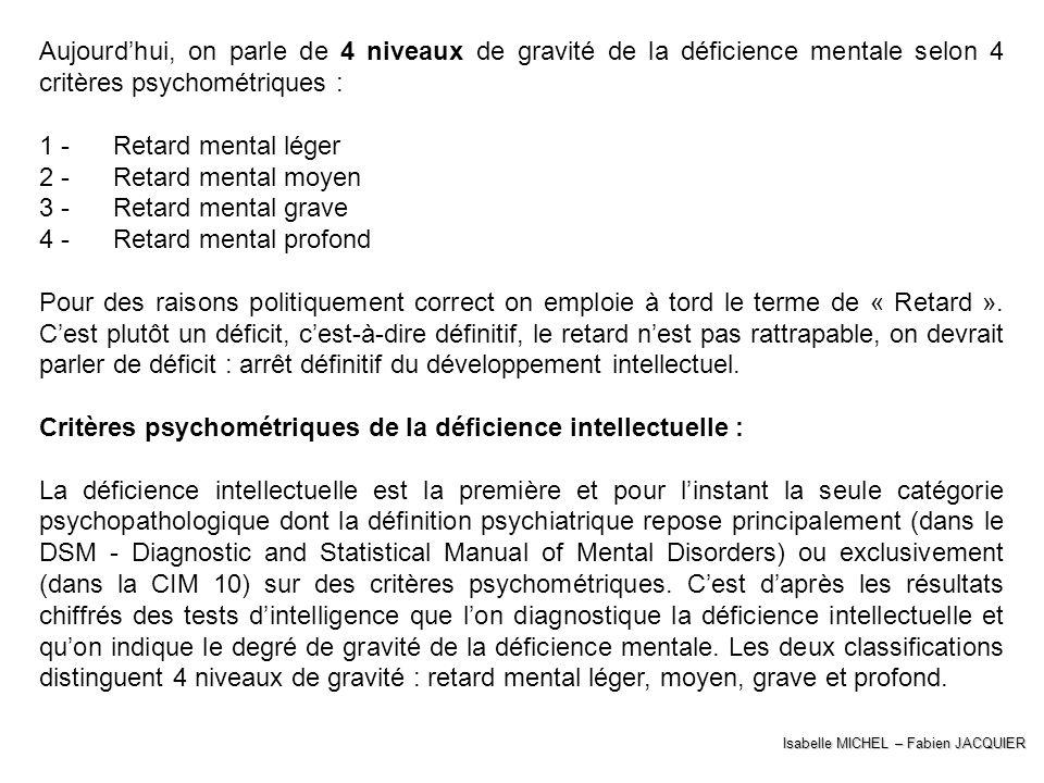 Isabelle MICHEL – Fabien JACQUIER Aujourdhui, on parle de 4 niveaux de gravité de la déficience mentale selon 4 critères psychométriques : 1 - Retard