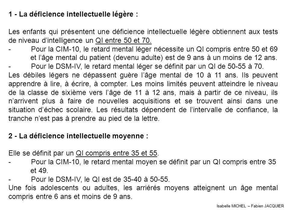 Isabelle MICHEL – Fabien JACQUIER 1 - La déficience intellectuelle légère : Les enfants qui présentent une déficience intellectuelle légère obtiennent