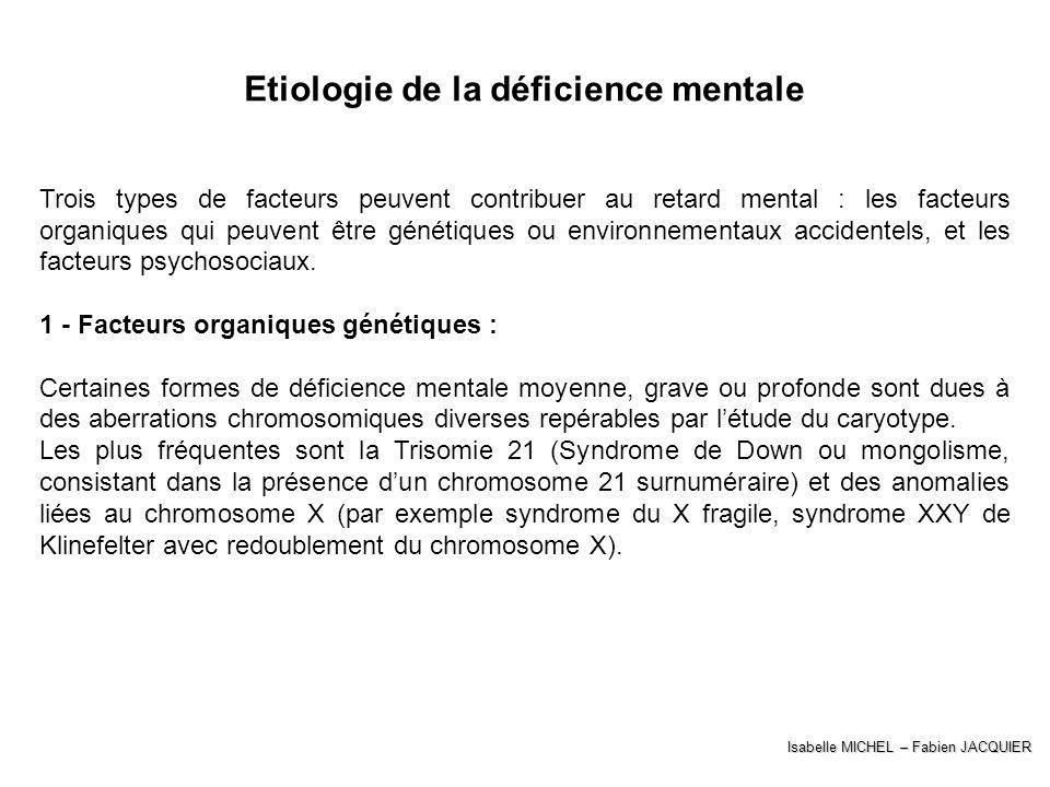 Etiologie de la déficience mentale Trois types de facteurs peuvent contribuer au retard mental : les facteurs organiques qui peuvent être génétiques o