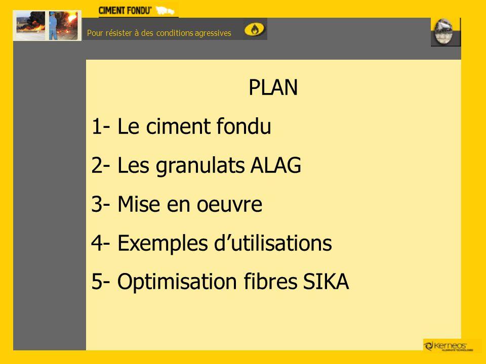 Pour résister à des conditions agressives PLAN 1- Le ciment fondu 2- Les granulats ALAG 3- Mise en oeuvre 4- Exemples dutilisations 5- Optimisation fi