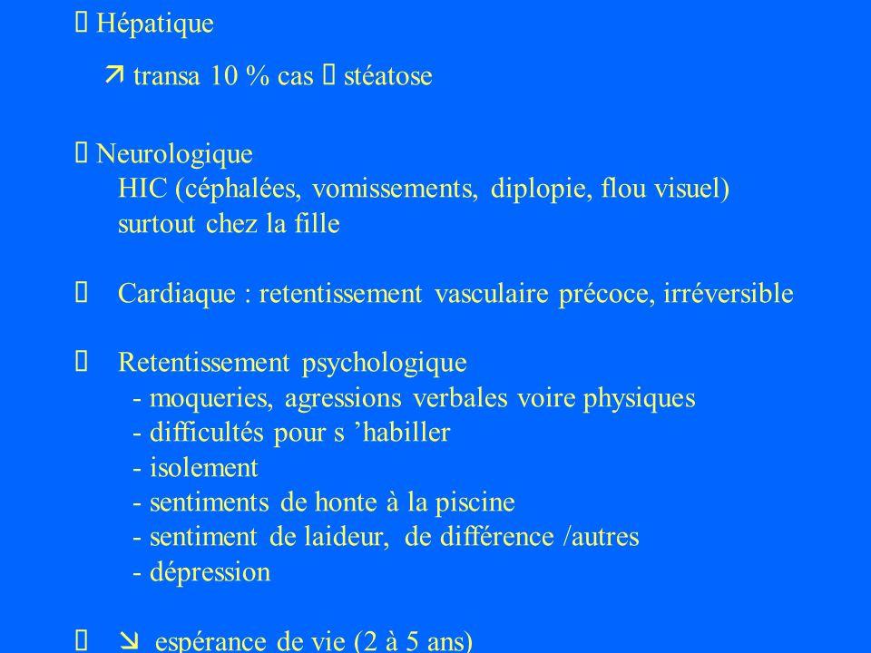 Hépatique transa 10 % cas stéatose Neurologique HIC (céphalées, vomissements, diplopie, flou visuel) surtout chez la fille Cardiaque : retentissement