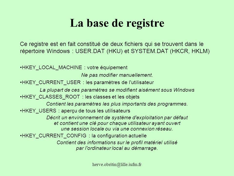 herve.obritin@lille.iufm.fr La base de registre Ce registre est en fait constitué de deux fichiers qui se trouvent dans le répertoire Windows : USER.D