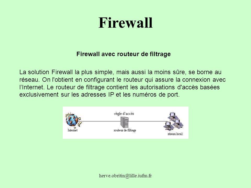 herve.obritin@lille.iufm.fr Firewall Firewall avec routeur de filtrage La solution Firewall la plus simple, mais aussi la moins sûre, se borne au rése