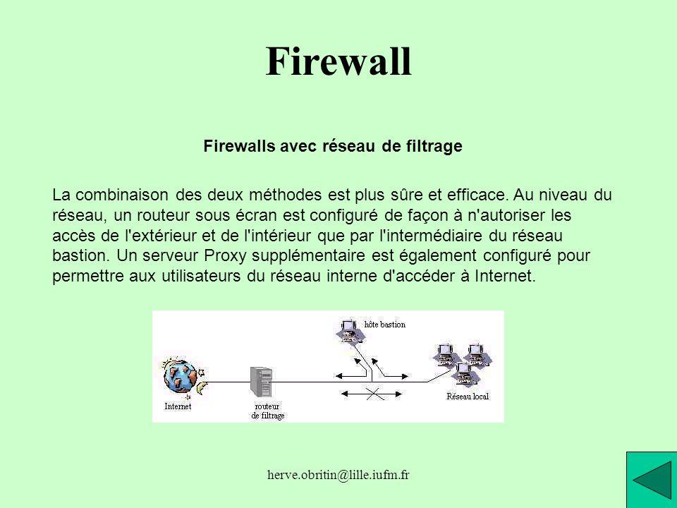 herve.obritin@lille.iufm.fr Firewall Firewalls avec réseau de filtrage La combinaison des deux méthodes est plus sûre et efficace. Au niveau du réseau