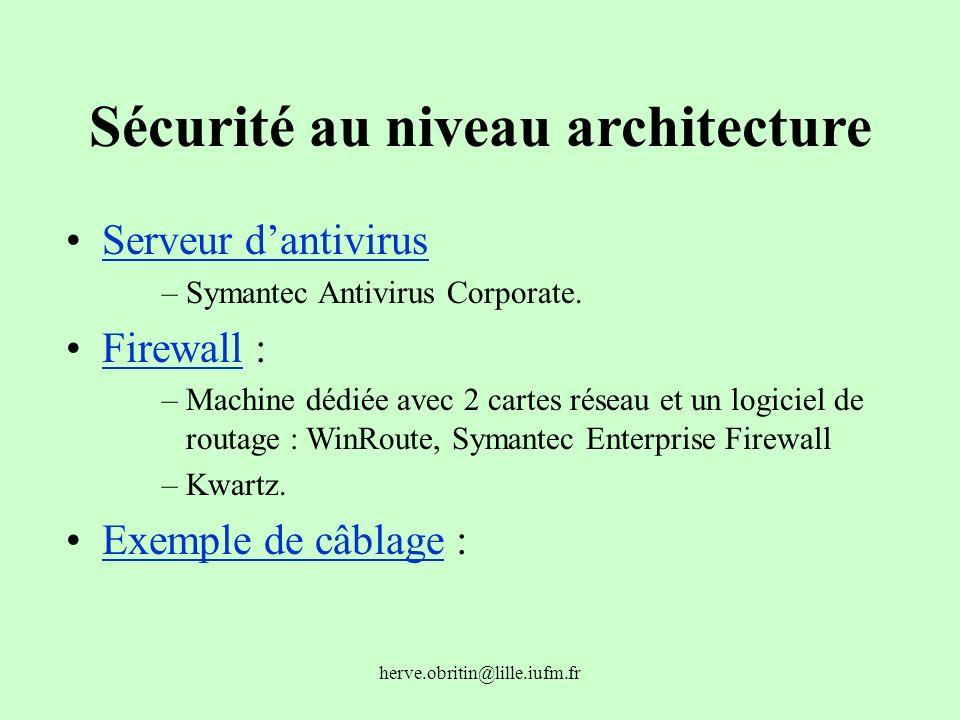 herve.obritin@lille.iufm.fr Sécurité au niveau architecture Serveur dantivirus –Symantec Antivirus Corporate. Firewall :Firewall –Machine dédiée avec