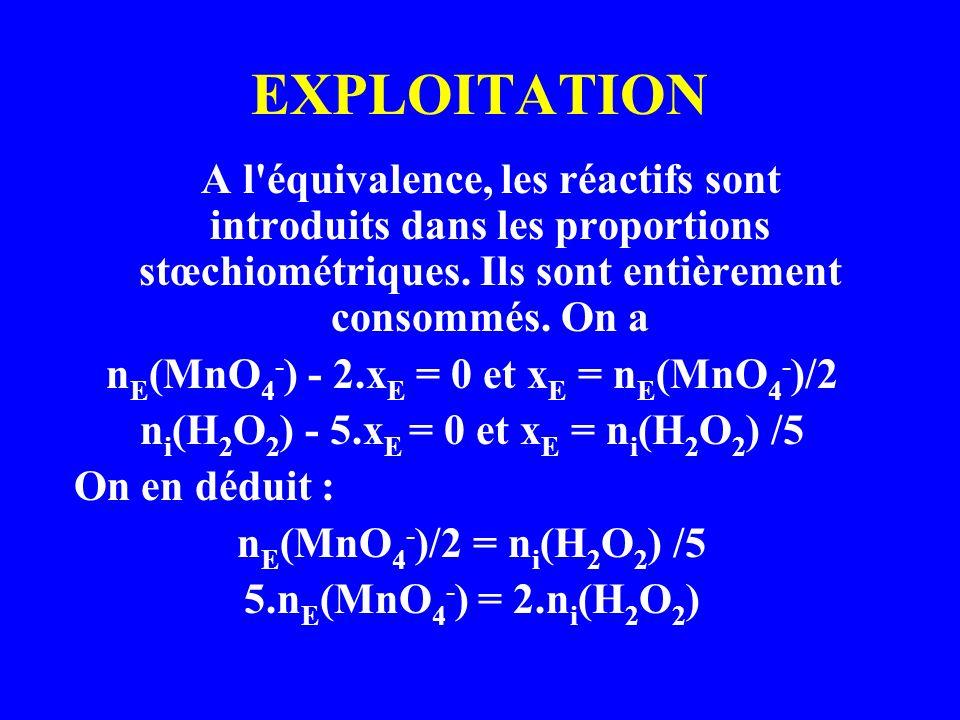 EXPLOITATION A l'équivalence, les réactifs sont introduits dans les proportions stœchiométriques. Ils sont entièrement consommés. On a n E (MnO 4 - )