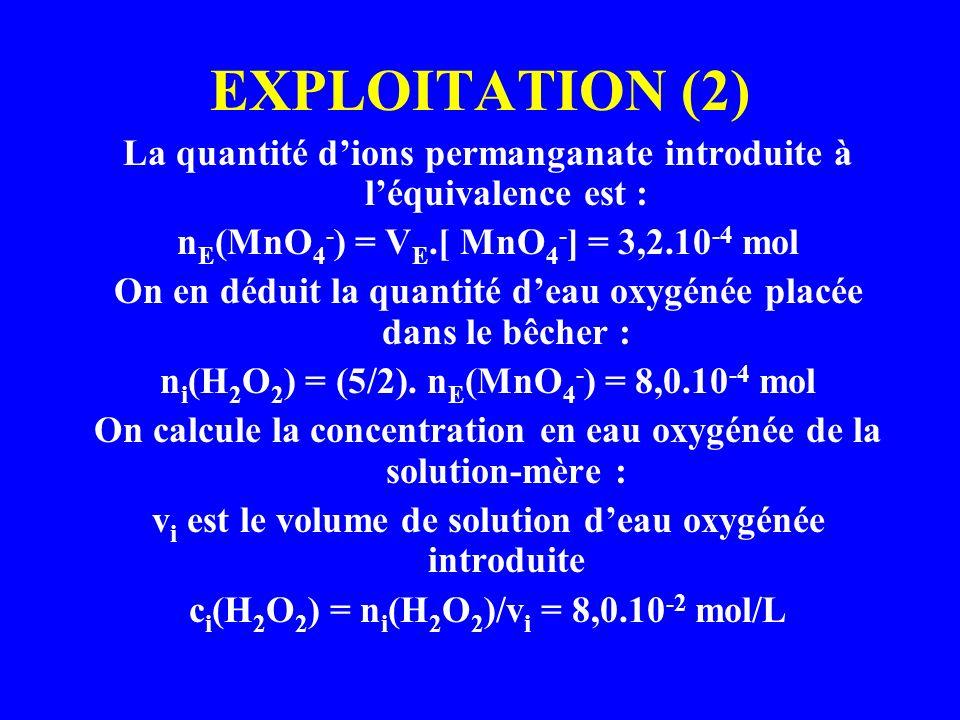 EXPLOITATION (2) La quantité dions permanganate introduite à léquivalence est : n E (MnO 4 - ) = V E.[ MnO 4 - ] = 3,2.10 -4 mol On en déduit la quant