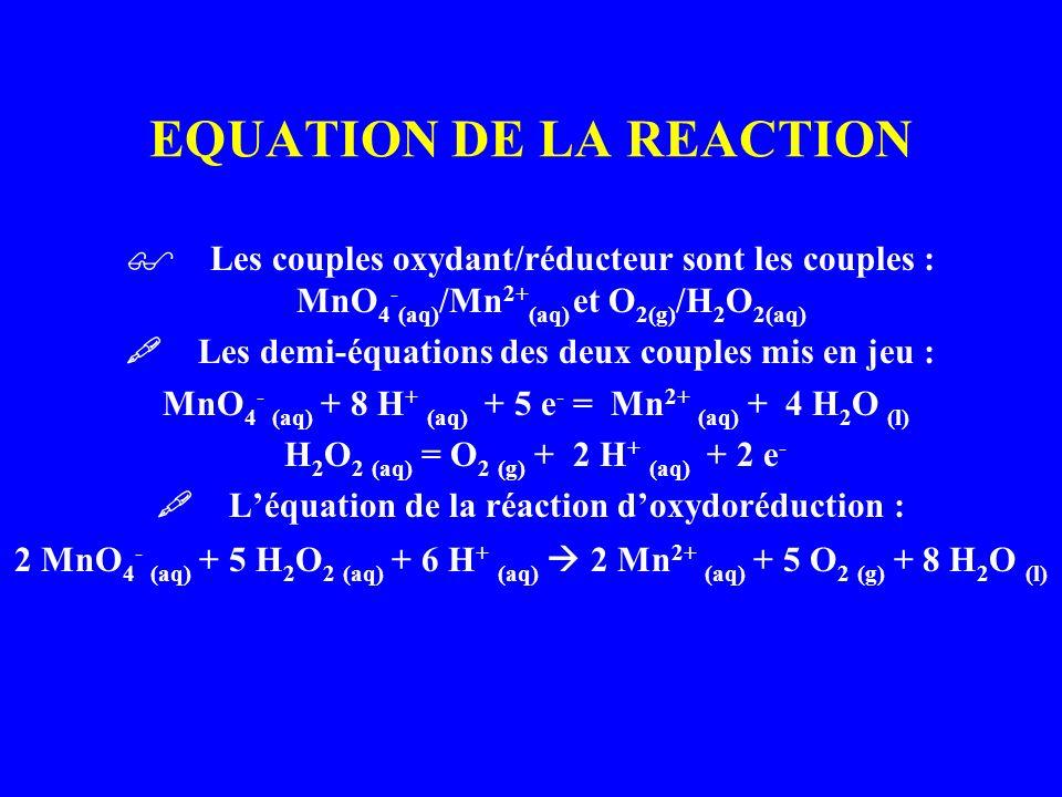 EQUATION DE LA REACTION Les couples oxydant/réducteur sont les couples : MnO 4 - (aq) /Mn 2+ (aq) et O 2(g) /H 2 O 2(aq) Les demi-équations des deux c