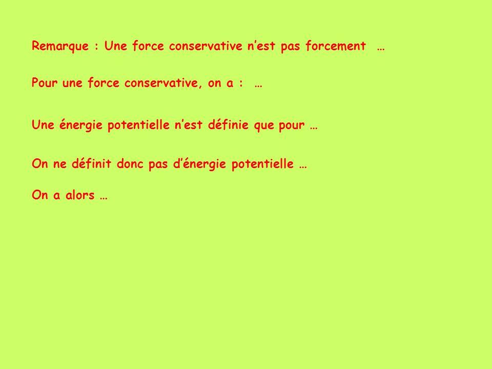 Remarque : Une force conservative nest pas forcement … Pour une force conservative, on a : … Une énergie potentielle nest définie que pour … On ne déf
