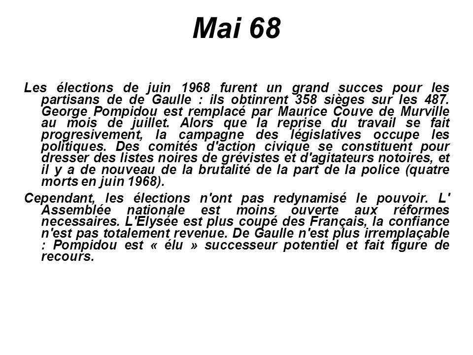 Mai 68 Les élections de juin 1968 furent un grand succes pour les partisans de de Gaulle : ils obtinrent 358 sièges sur les 487. George Pompidou est r