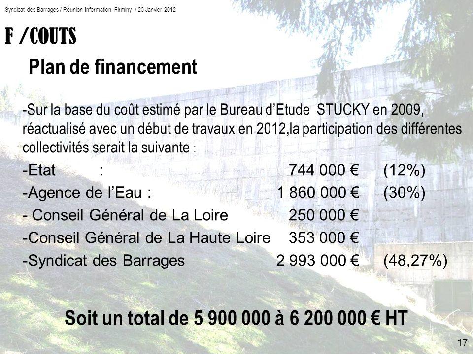 F /COUTS Plan de financement -Sur la base du coût estimé par le Bureau dEtude STUCKY en 2009, réactualisé avec un début de travaux en 2012,la participation des différentes collectivités serait la suivante : -Etat: 744 000 (12%) -Agence de lEau : 1 860 000 (30%) - Conseil Général de La Loire 250 000 -Conseil Général de La Haute Loire353 000 -Syndicat des Barrages 2 993 000 (48,27%) Soit un total de 5 900 000 à 6 200 000 HT 17 Syndicat des Barrages / Réunion Information Firminy / 20 Janvier 2012