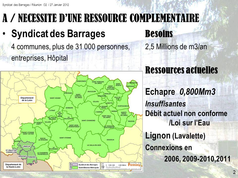 Syndicat des Barrages / Réunion O2 / 27 Janvier 2012 A / NECESSITE DUNE RESSOURCE COMPLEMENTAIRE Syndicat des Barrages Besoins 4 communes, plus de 31 000 personnes, 2,5 Millions de m3/an entreprises, Hôpital Ressources actuelles Echapre 0,800Mm3 Insuffisantes Débit actuel non conforme /Loi sur lEau Lignon (Lavalette) Connexions en 2006, 2009-2010,2011 2