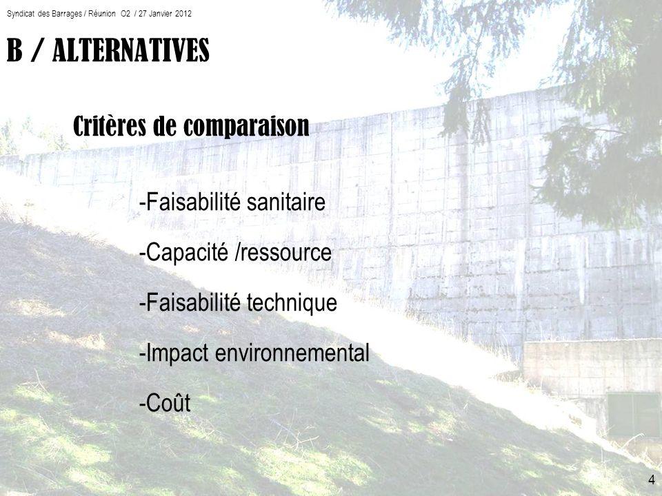 Syndicat des Barrages / Réunion O2 / 27 Janvier 2012 4 B / ALTERNATIVES Critères de comparaison -Faisabilité sanitaire -Capacité /ressource -Faisabilité technique -Impact environnemental -Coût