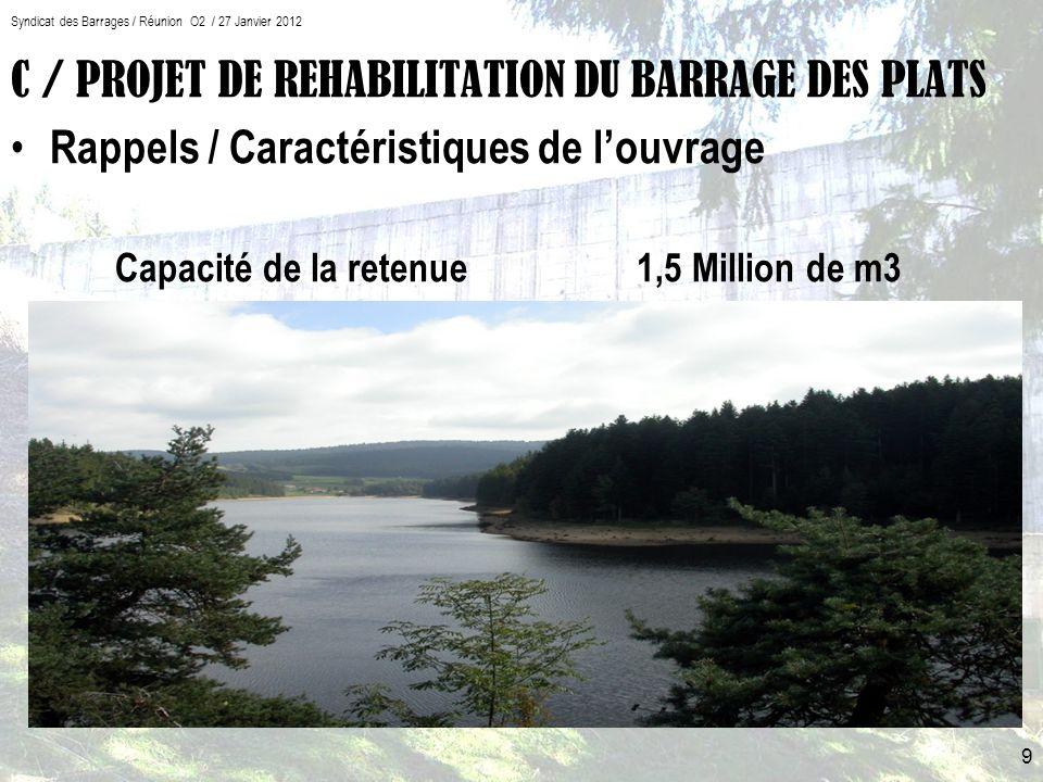 C / PROJET DE REHABILITATION DU BARRAGE DES PLATS Rappels / Caractéristiques de louvrage Capacité de la retenue 1,5 Million de m3 9 Syndicat des Barrages / Réunion O2 / 27 Janvier 2012