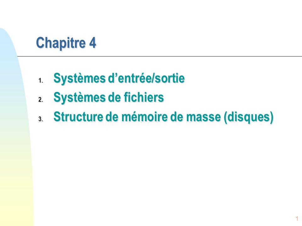 1 Chapitre 4 1. Systèmes dentrée/sortie 2. Systèmes de fichiers 3. Structure de mémoire de masse (disques)
