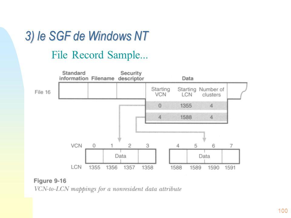 100 File Record Sample... 3) le SGF de Windows NT