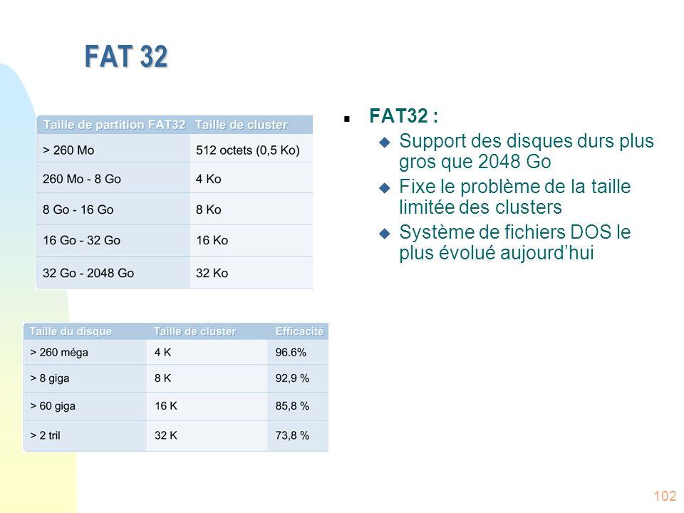 102 n FAT32 : u Support des disques durs plus gros que 2048 Go u Fixe le problème de la taille limitée des clusters u Système de fichiers DOS le plus