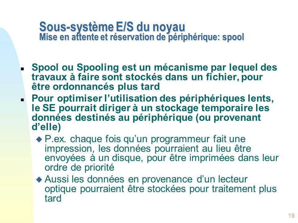 19 Sous-système E/S du noyau Mise en attente et réservation de périphérique: spool n Spool ou Spooling est un mécanisme par lequel des travaux à faire
