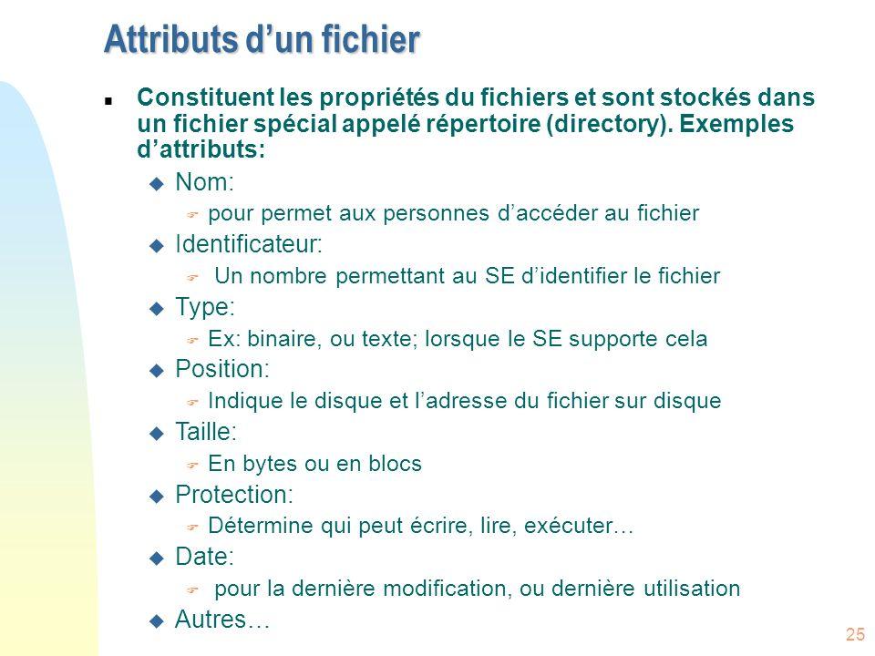 25 Attributs dun fichier n Constituent les propriétés du fichiers et sont stockés dans un fichier spécial appelé répertoire (directory). Exemples datt