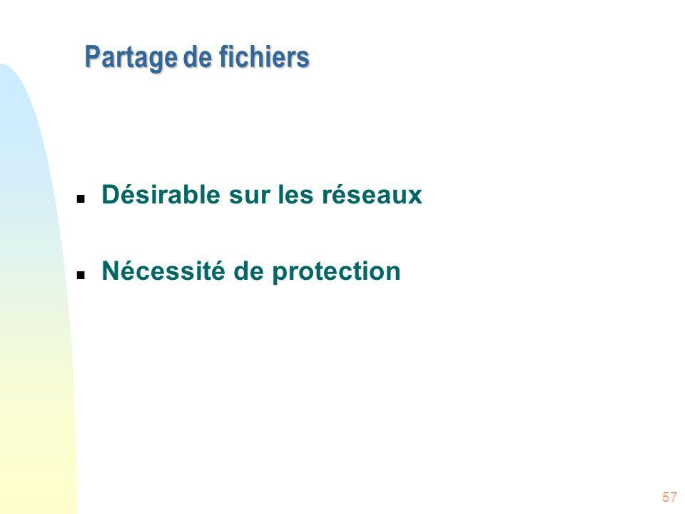 57 Partage de fichiers n Désirable sur les réseaux n Nécessité de protection