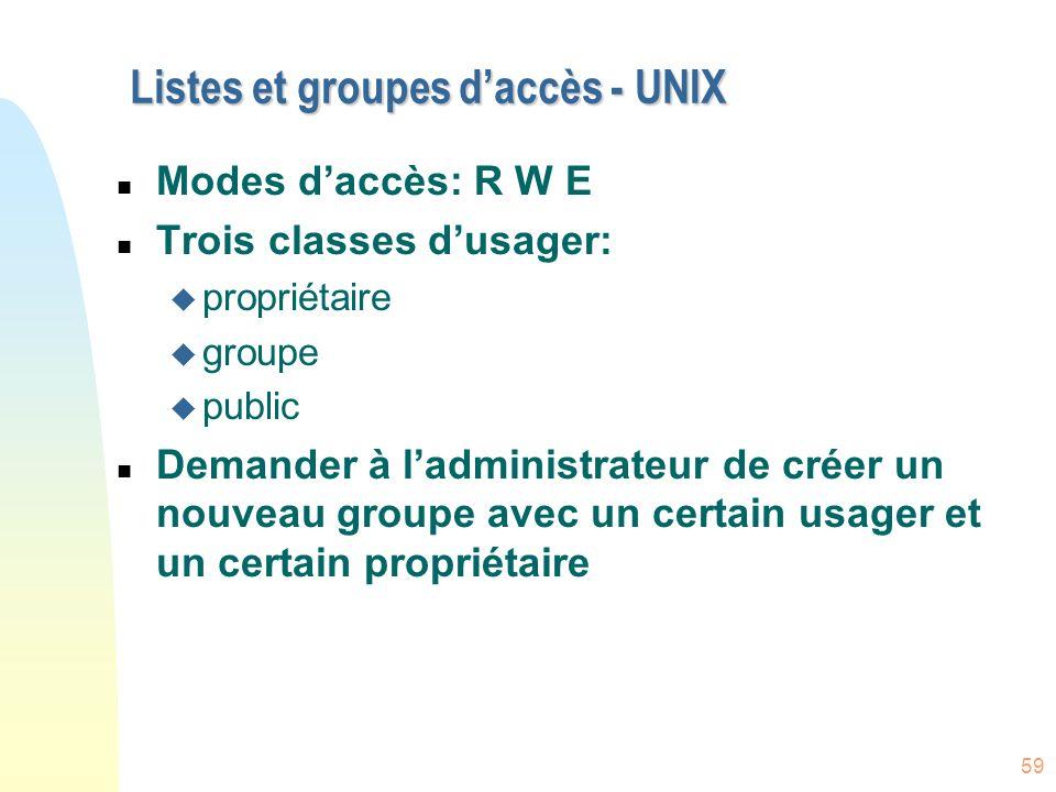 59 Listes et groupes daccès - UNIX n Modes daccès: R W E n Trois classes dusager: u propriétaire u groupe u public n Demander à ladministrateur de cré