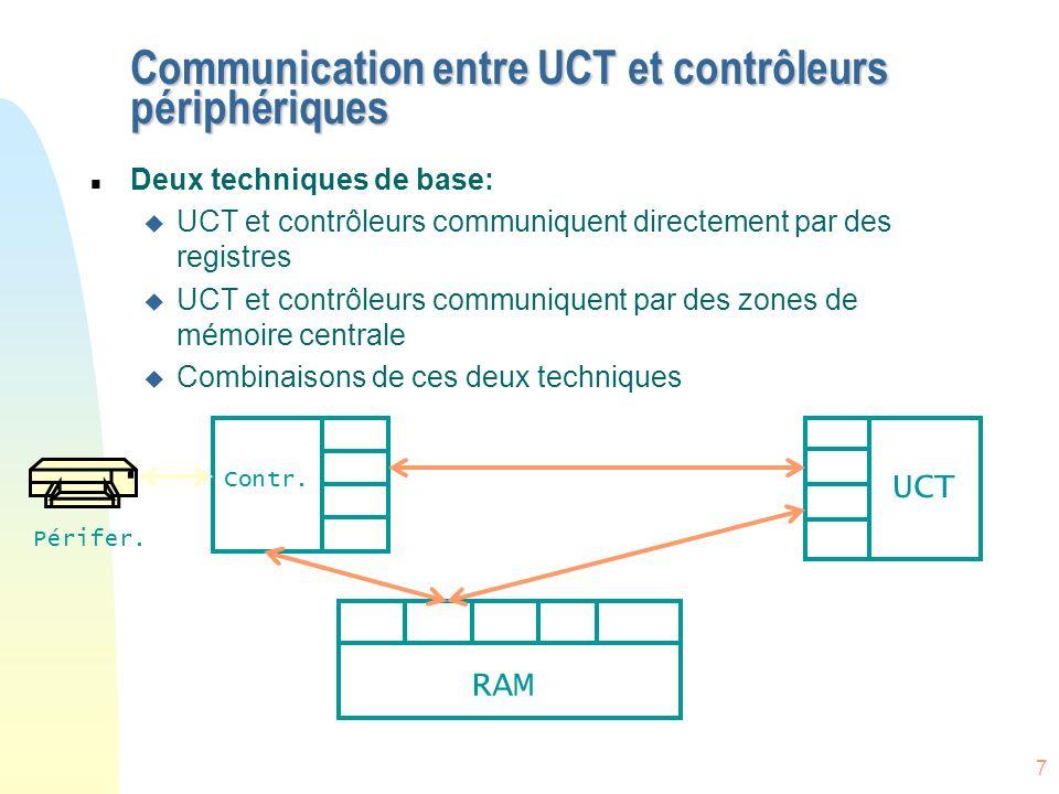8 Accès direct en mémoire (DMA) n Dans les systèmes sans DMA, lUCT est impliquée dans le transfert de chaque octet n DMA est utile pour exclure limplication de lUCT surtout pour des E/S volumineuses n Demande un contrôleur spécial a accès direct à la mémoire centrale