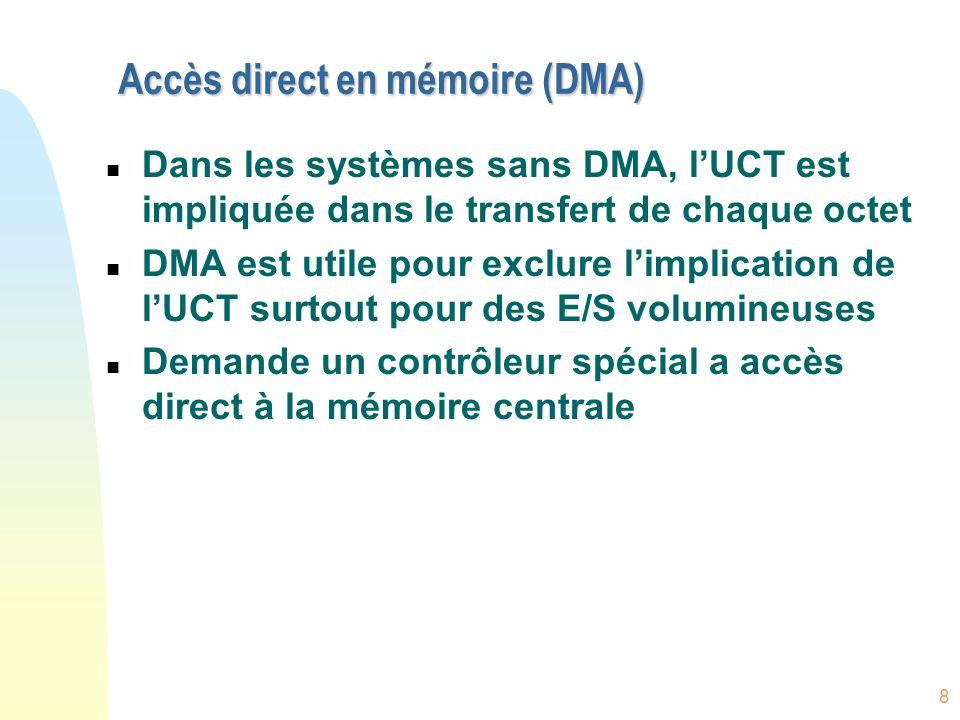 8 Accès direct en mémoire (DMA) n Dans les systèmes sans DMA, lUCT est impliquée dans le transfert de chaque octet n DMA est utile pour exclure limpli