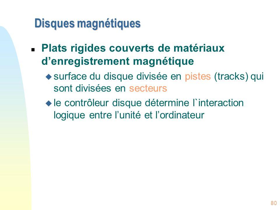80 Disques magnétiques n Plats rigides couverts de matériaux denregistrement magnétique u surface du disque divisée en pistes (tracks) qui sont divisé