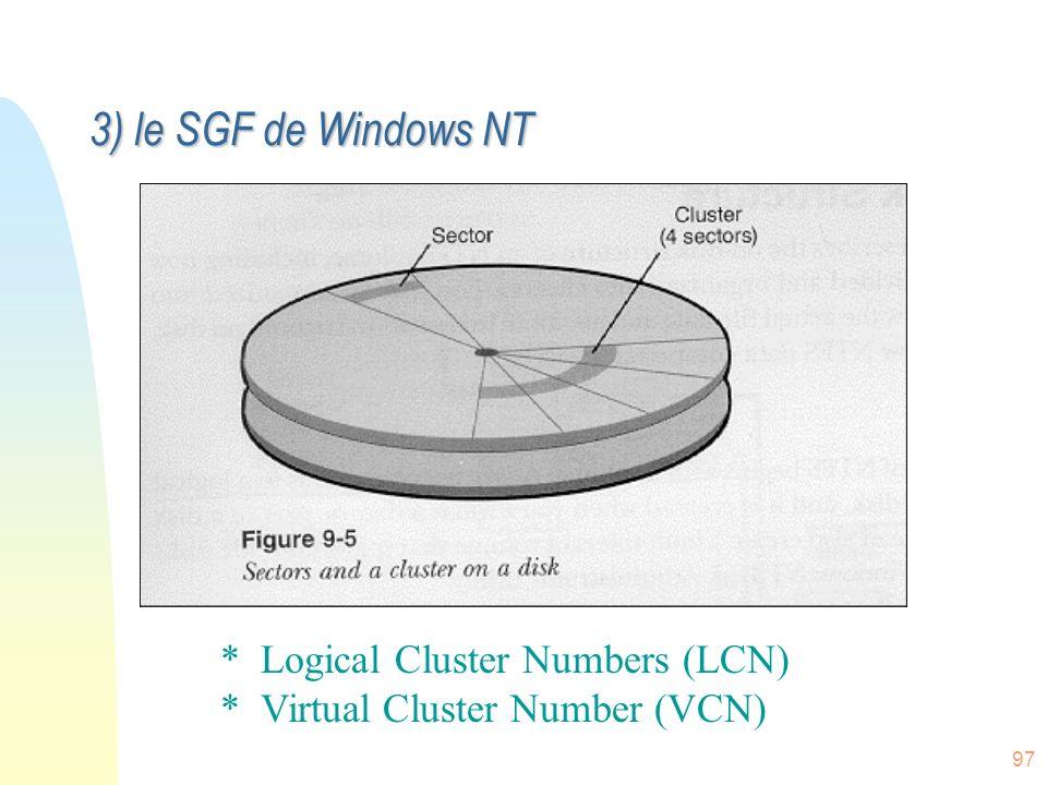 97 Micro$oft en 1988… * Mieux que la FAT du Dos/Windows * Mieux que HPFS de OS/2 New Technology File System (NTFS) 3) le SGF de Windows NT * Logical C