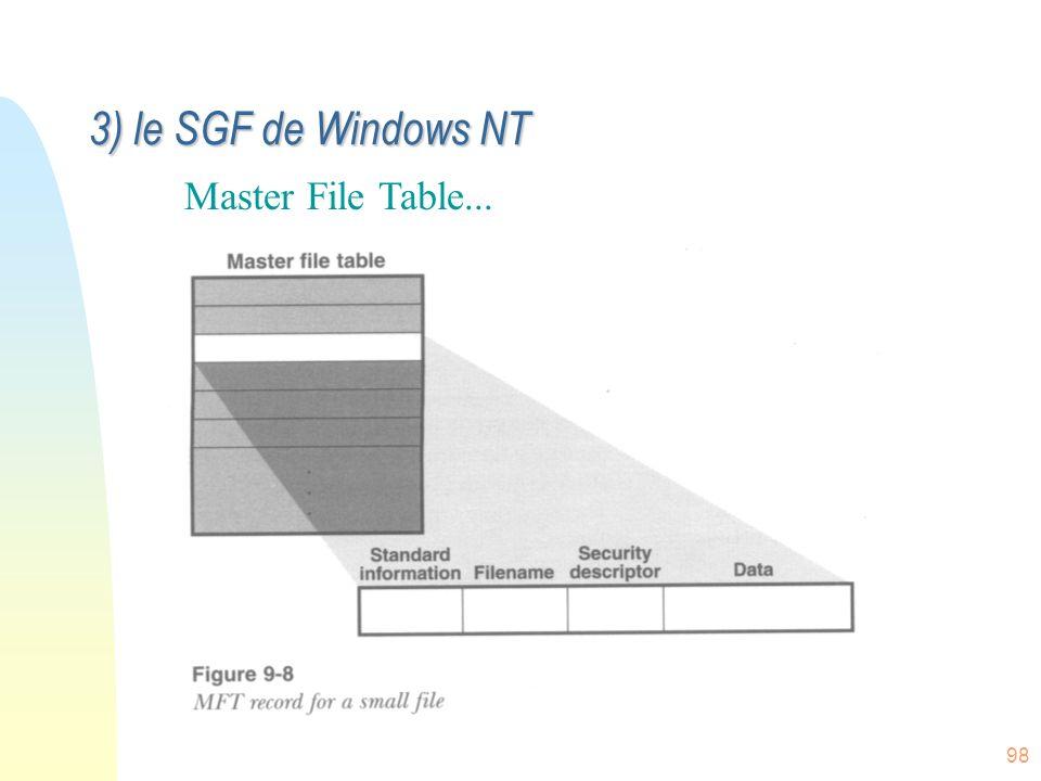 98 Master File Table... 3) le SGF de Windows NT
