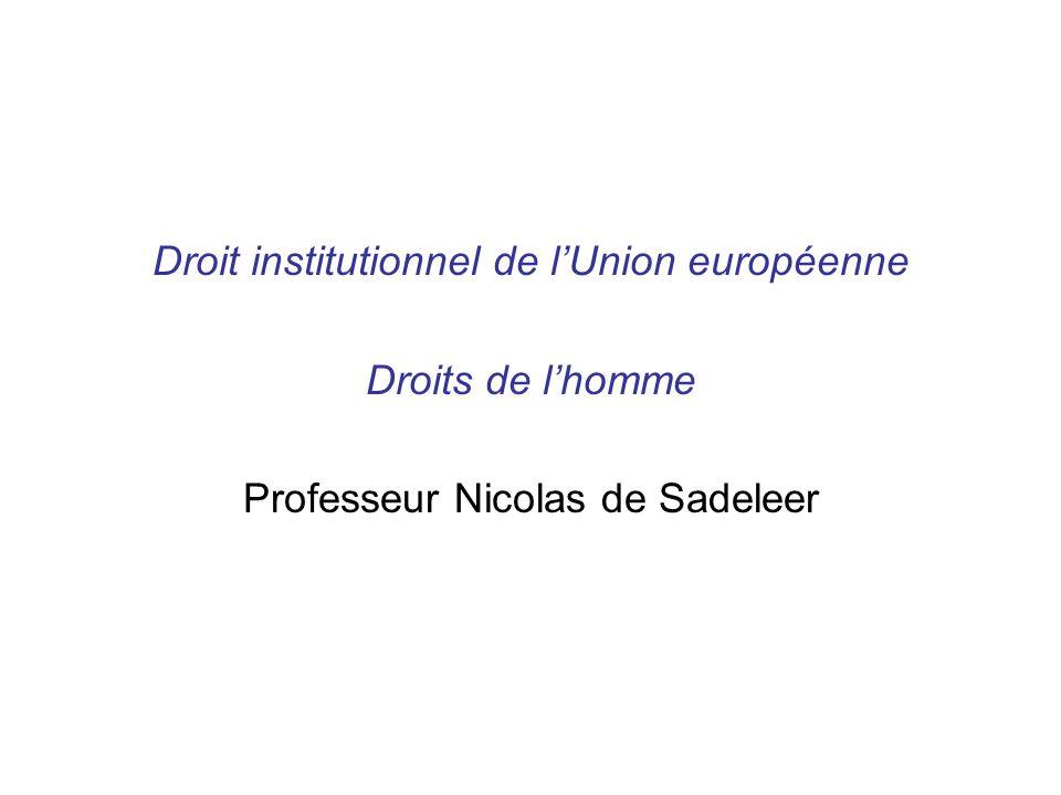 Droit institutionnel de lUnion européenne Droits de lhomme Professeur Nicolas de Sadeleer
