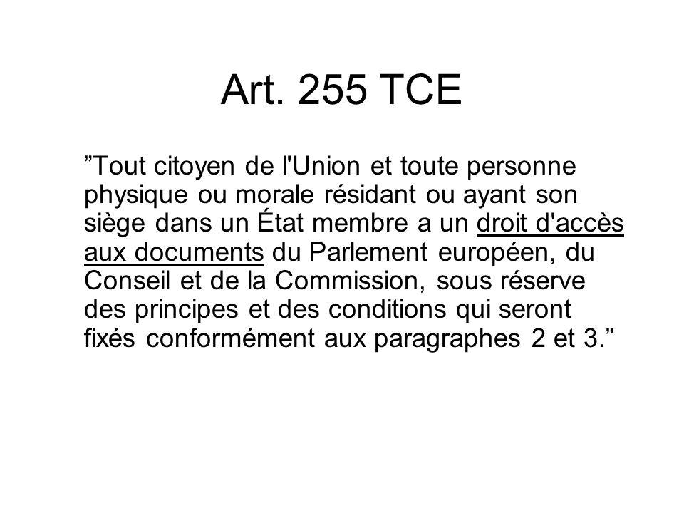 Art. 255 TCE Tout citoyen de l'Union et toute personne physique ou morale résidant ou ayant son siège dans un État membre a un droit d'accès aux docum