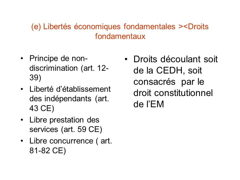(e) Libertés économiques fondamentales ><Droits fondamentaux Principe de non- discrimination (art.