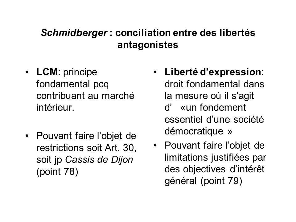 Schmidberger : conciliation entre des libertés antagonistes LCM: principe fondamental pcq contribuant au marché intérieur.