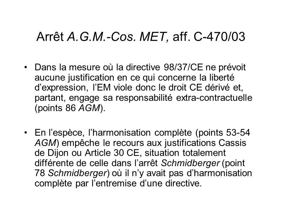 Arrêt A.G.M.-Cos.MET, aff.