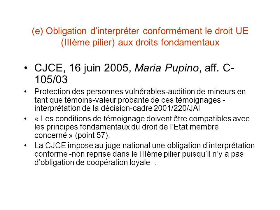 (e) Obligation dinterpréter conformément le droit UE (IIIème pilier) aux droits fondamentaux CJCE, 16 juin 2005, Maria Pupino, aff.