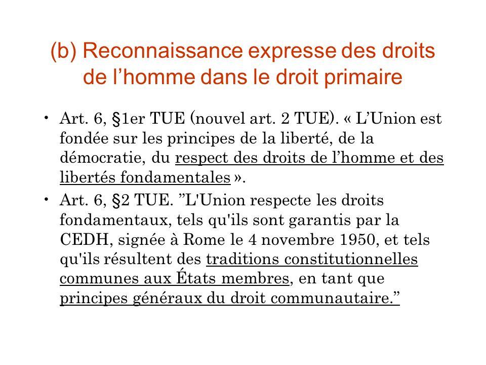 (b) Reconnaissance expresse des droits de lhomme dans le droit primaire Art.