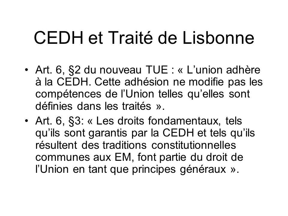 CEDH et Traité de Lisbonne Art.6, §2 du nouveau TUE : « Lunion adhère à la CEDH.