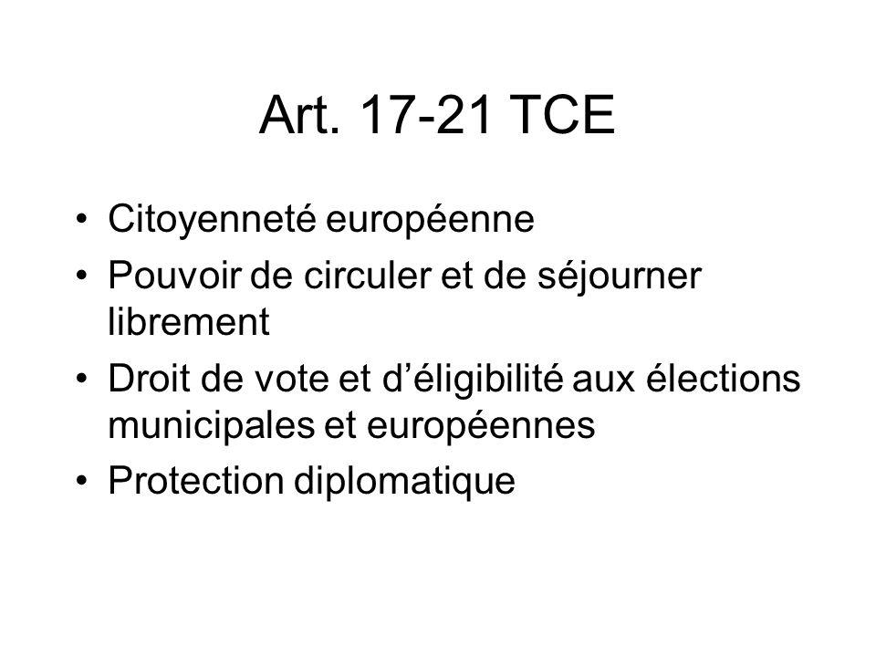 Art. 17-21 TCE Citoyenneté européenne Pouvoir de circuler et de séjourner librement Droit de vote et déligibilité aux élections municipales et europée