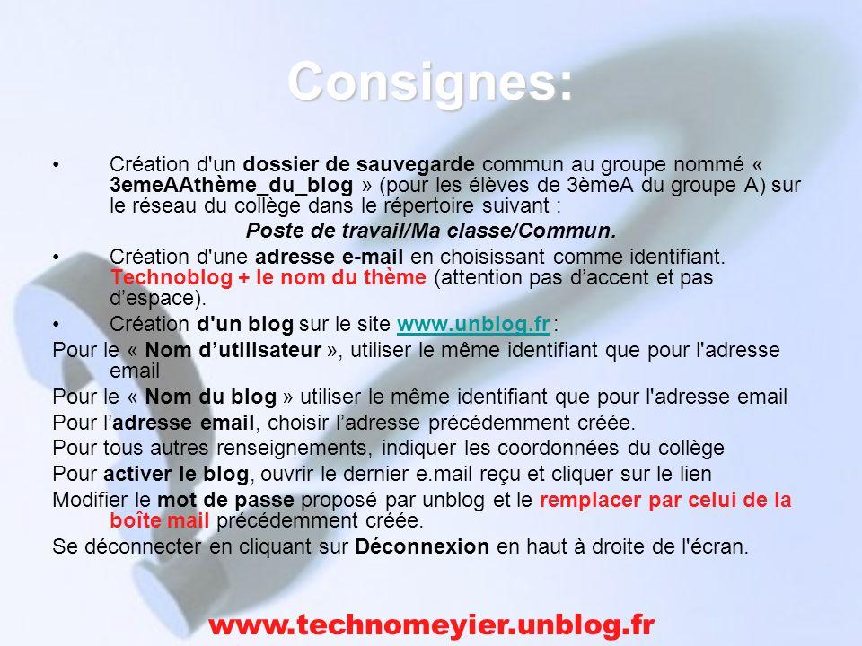 Consignes: Création d un dossier de sauvegarde commun au groupe nommé « 3emeAAthème_du_blog » (pour les élèves de 3èmeA du groupe A) sur le réseau du collège dans le répertoire suivant : Poste de travail/Ma classe/Commun.